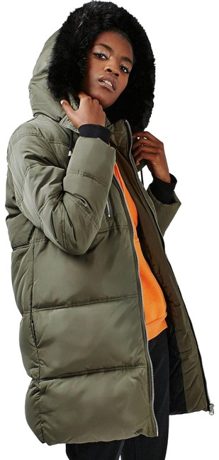 Item - Army Green Puffer Faux Fur Removable Hood Coat Size 6 (S)