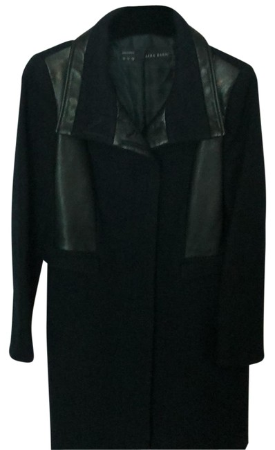 Item - Navy Wool and Leather Coat Size 12 (L)