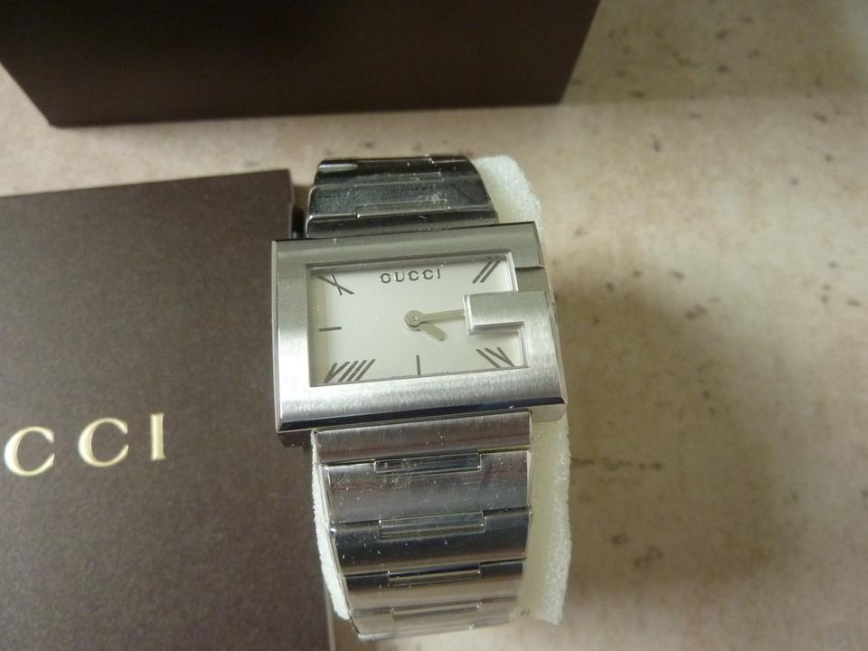 b60d0bd6089 Gucci Silver White Nwt-gucci Ladies G-rectangle Collection Swiss ...