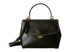 Michael Kors Leather Ava Scalloped Grommet Satchel in Black