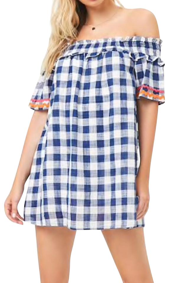 47905ebb8612 Forever 21 Navy White Gauze Buffalo Plaid Off-the-shoulder Casual Dress