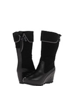 Merrell Leather Midcalf Wedge Black Boots