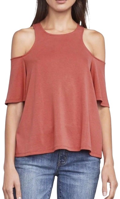 Item - Kelsey Cold Shoulder Flowy Shirt In Rust Xxs Red/Pink Top