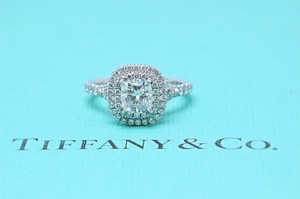 Tiffany & Co. F Soleste Platinum and Diamond Cushion 1.02 Tcw If Engagement Ring