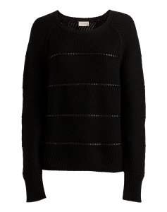 René Lezard Knit Leather Details Cotton Wool Sweater