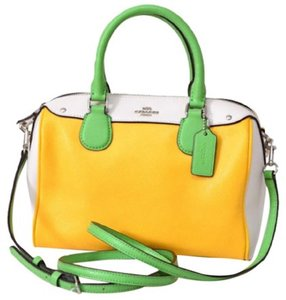 Coach Yellow Green F37708 Mini Bennett Satchel in Multi-Color