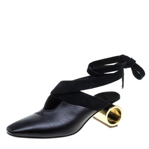 J.W.Anderson Leather Ankle Tie Black Sandals
