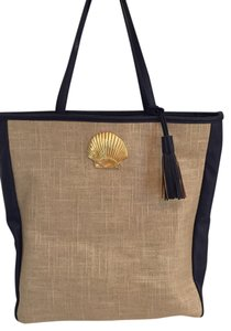 Mudd Tote in Linen and Navy