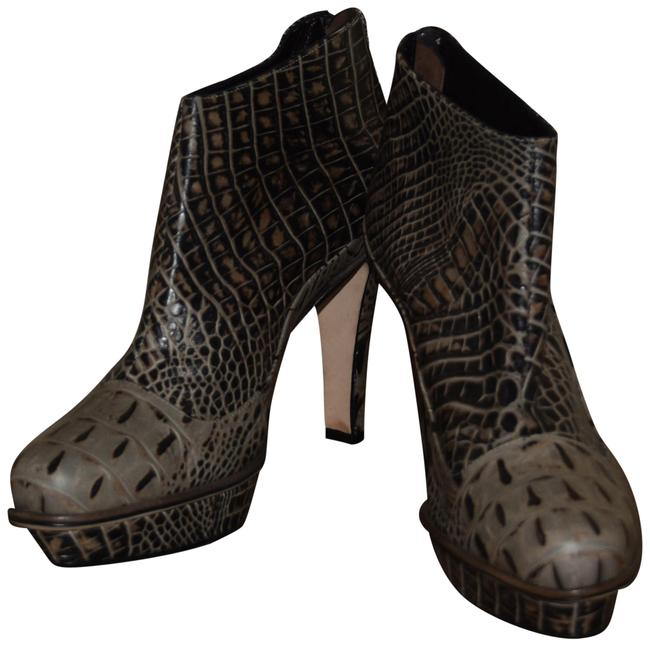 Item - Green Crocodile Print Stiletto Ankle Platform Boots/Booties Size US 10 Regular (M, B)