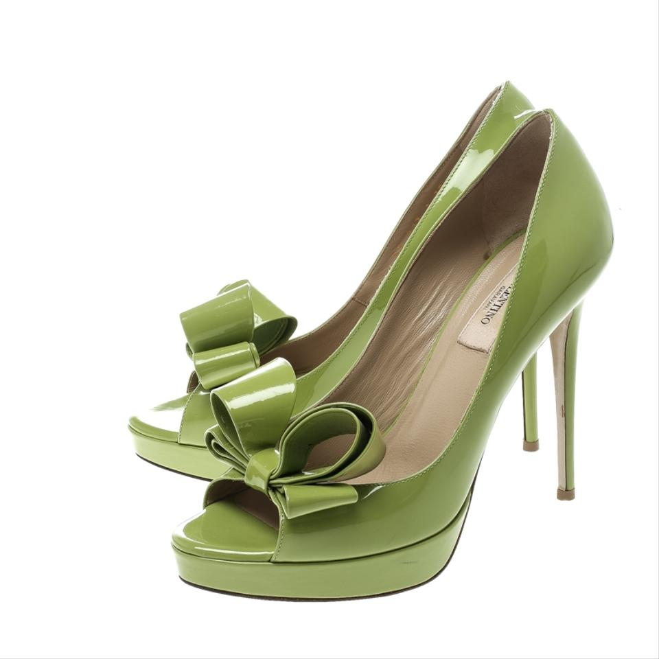 6ef89b6cb11 Valentino Patent Leather Couture Peep Toe Platform Green Pumps Image 7.  12345678