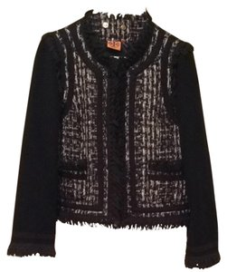 Tory Burch Tweed Black Brown with Metallic Weave Blazer