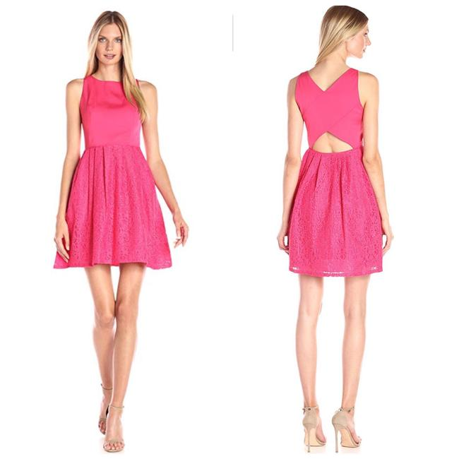 Item - Pink Lace and Faille Party Mid-length Cocktail Dress Size 8 (M)