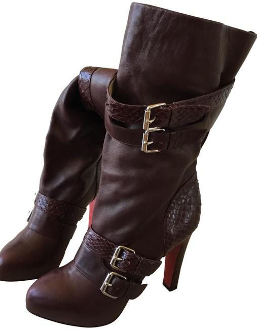 Item - Burgundy Leather and Snake Skin Ankle Boots/Booties Size EU 37.5 (Approx. US 7.5) Regular (M, B)