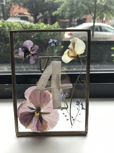 Anthropologie Gold Tone Frame 14 Count Pressed Glass 5x7 with Flowers From Reception Decoration