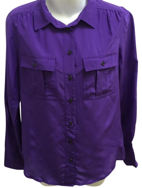 Item - Purple Silk with Pockets Button-down Top Size 2 (XS)