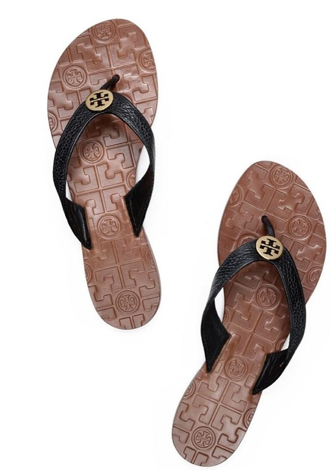 8f4125a482f Tory Burch Black New Leather Flats Flip Flops Sandals Size US 7 ...