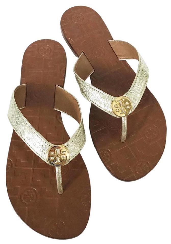 6e19801711ff Tory Burch Gold New Leather Logo Flip Flats Sandals Size US 7 ...