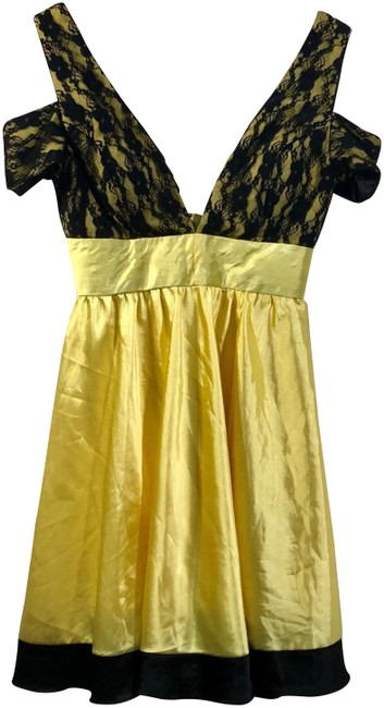 Item - Yellow and Black Cute Short Night Out Dress Size 6 (S)