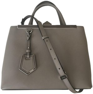 Fendi Leather Crossbody Shoulder Satchel in Dove gray/taupe