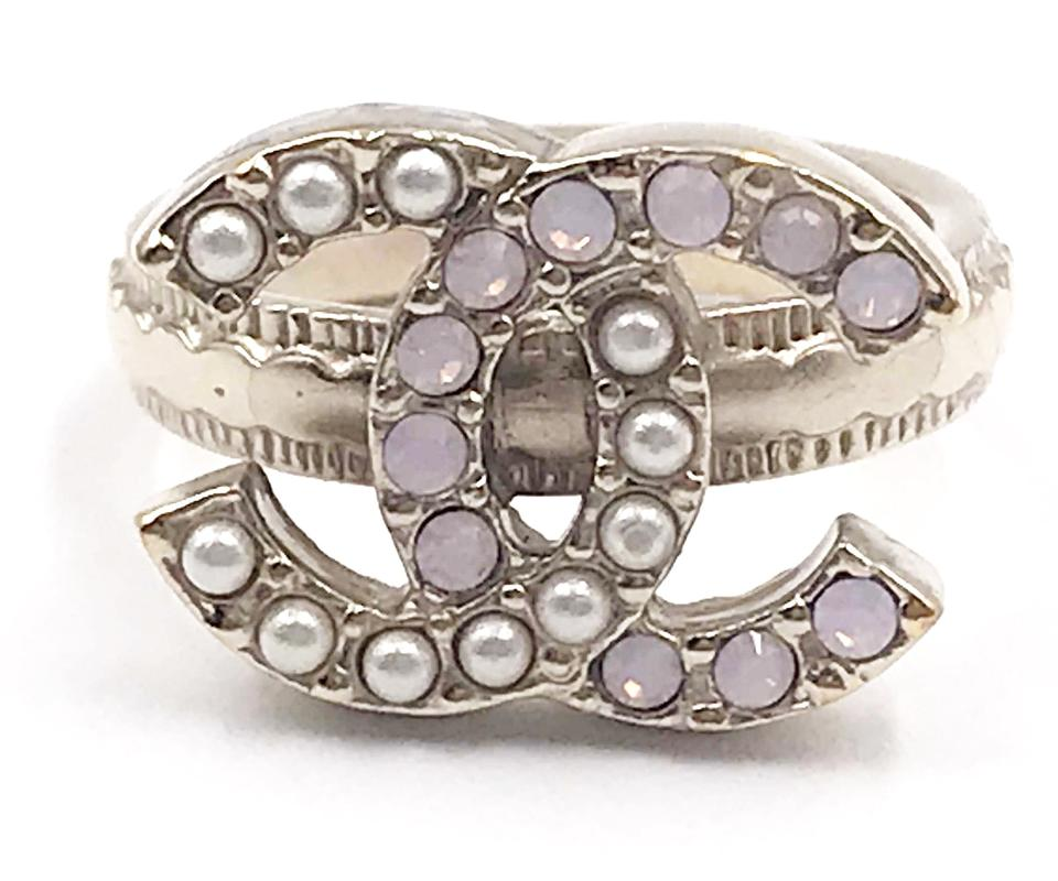 e17119b47a1eea Chanel Chanel Gold CC Faux Pearl Pastel Pink Crystal Ring Image 0 ...