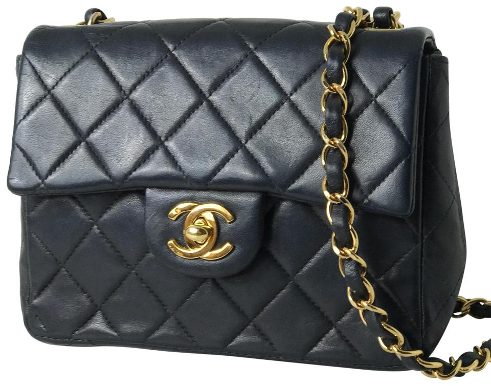 0ed8b13c076e83 Chanel Classic Square Flap Quilted Gold Hardware Dark Navy Leather Cross  Body Bag