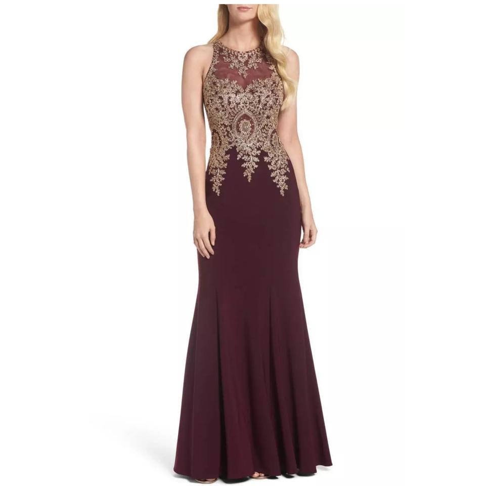Xscape Wine Lace Embroidered Mermaid Gown Long Formal Dress Size ...