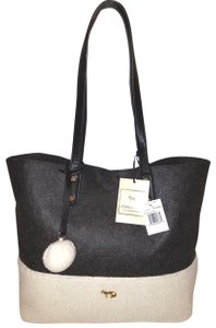Emma Fox With Tags Extra-large Wool Leather Tote in gray and cream