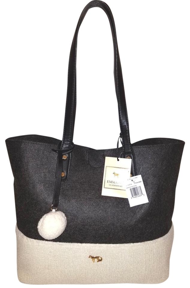 8068a2723a Emma Fox New Extra-large Sheep Fur Handbag Gray and Cream Wool Leather Tote