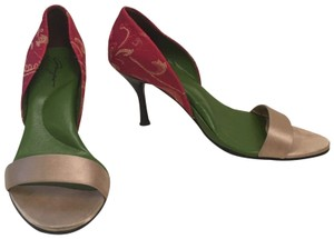 Shanghai Tang Heels Cushioned Arch Support Satin Low Heel Red Sandals
