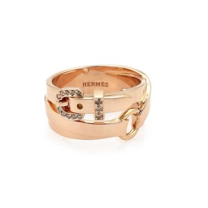 Hermès Champagne Diamond 18k Rose Gold Double Belt Band Ring Size 51-US 6
