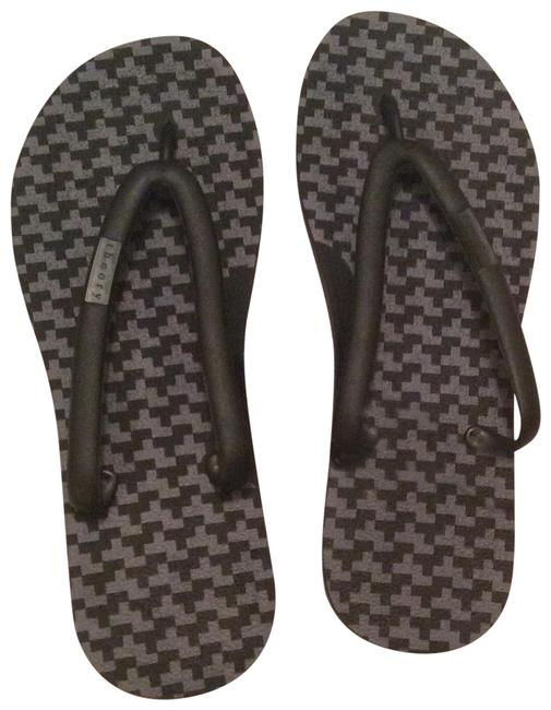Item - Black Grey Flip Flops Flats Size US 7 Regular (M, B)