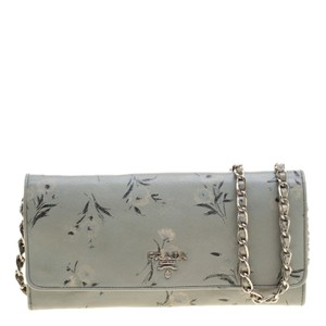 Prada Grey Floral Print Saffiano Leather Wallet on Chain