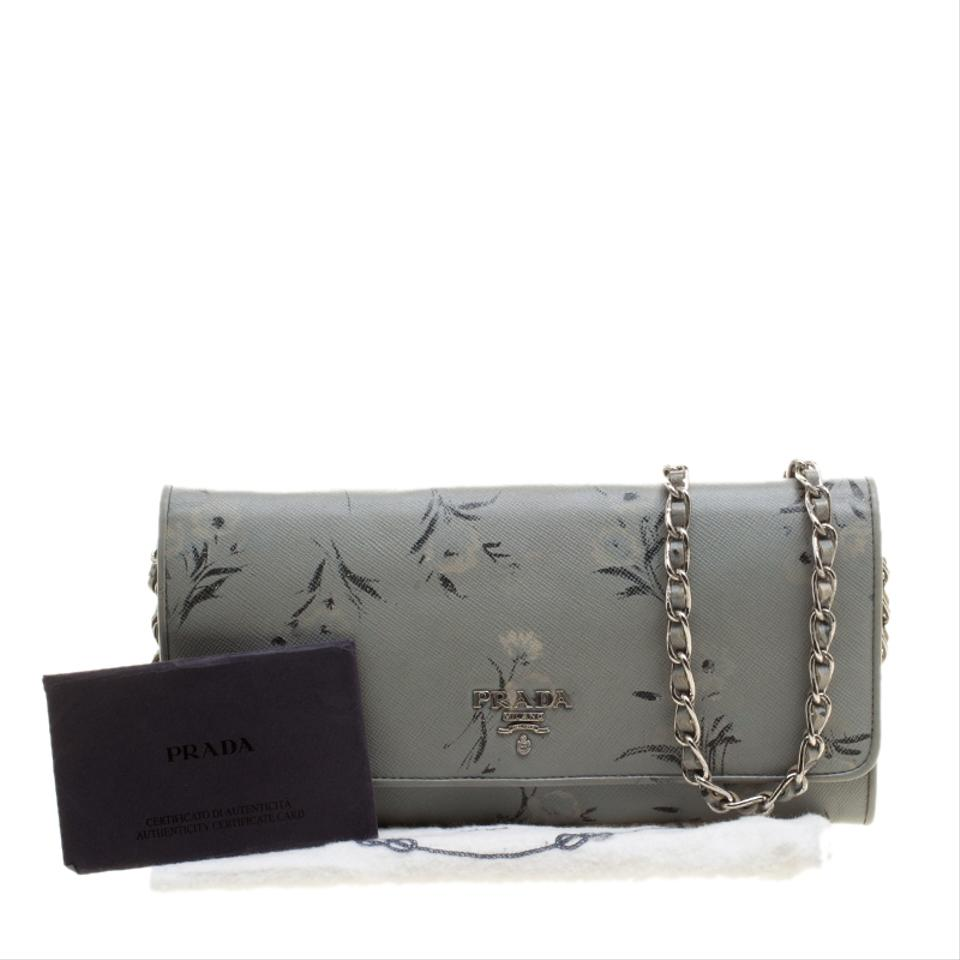 4e8d49a8c109 Prada Grey Floral Print Saffiano Leather Wallet on Chain Image 10.  1234567891011