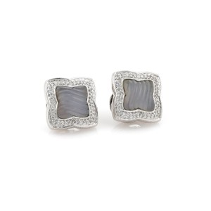 David Yurman Diamond Chalcedony Quatrefoil 18k WGold Post Clip Earrings