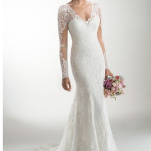 Maggie Sottero Light Gold Satin Underneath Ivory Lace Melanie Marie Feminine Wedding Dress Size 12 (L)