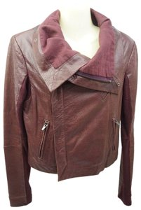 VEDA Burgundy Leather Jacket