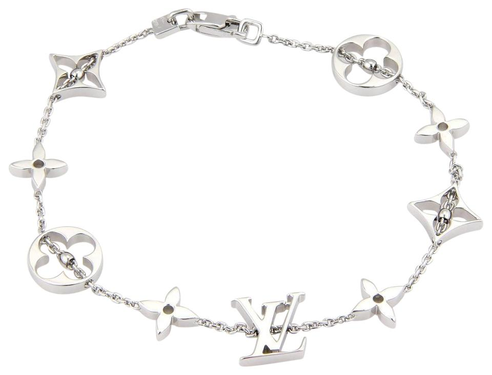 Louis Vuitton 18k White Gold Monogram Charms Chain Bracelet
