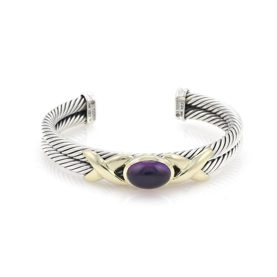b5a6a7aad33 David Yurman Cabochon Amethyst Sterling 14k Gold Double Cable Cuff Bracelet  Image 0 ...