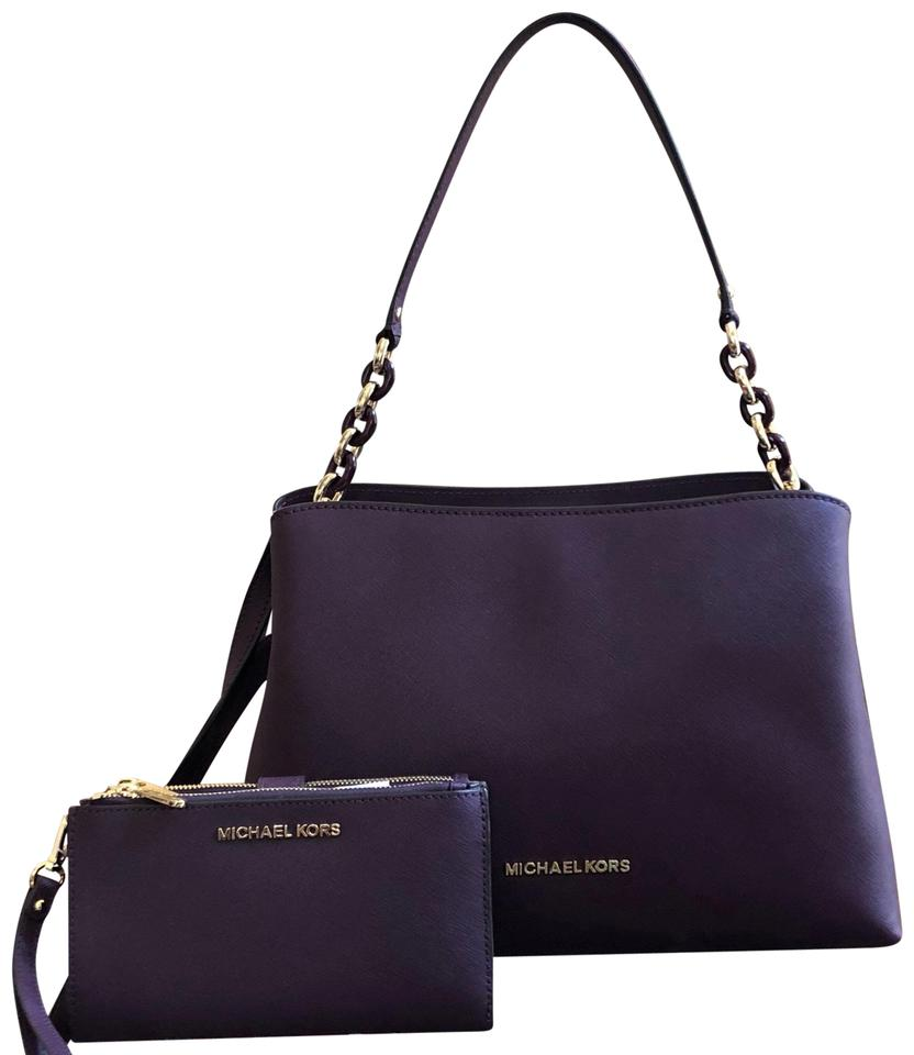 bf5936ffba82 Michael Kors Purse Set Matching Set Gift Sofia Carryall Wallet Satchel in  DAMSON Image 0 ...