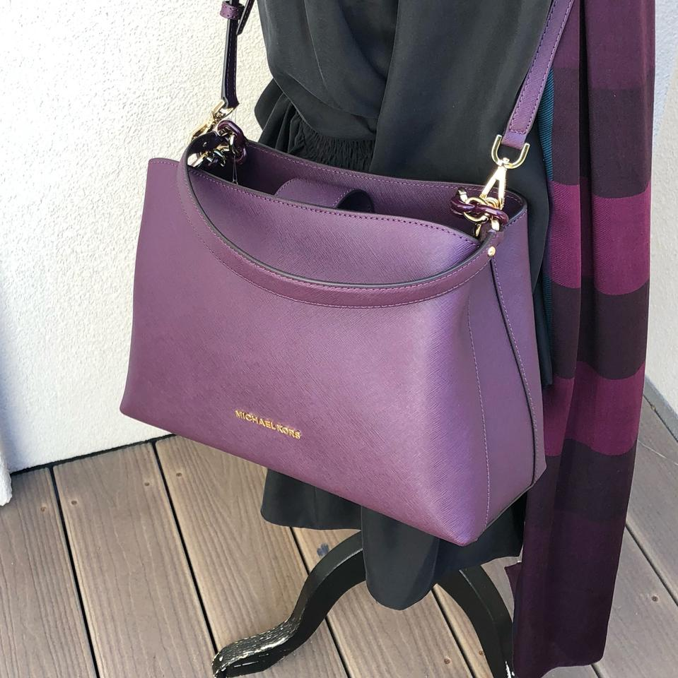 85ddc178439a Michael Kors Purse Set Matching Set Gift Sofia Carryall Wallet Satchel in  DAMSON Image 11. 123456789101112
