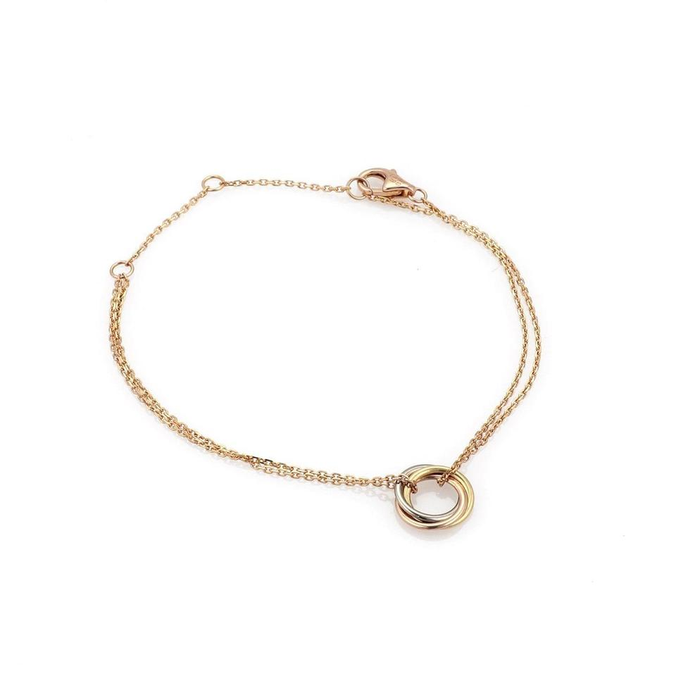 592ff80f63053 Cartier W Trinity 18k Tri-color Gold Mini 3 Ring Charm W/Paper Bracelet