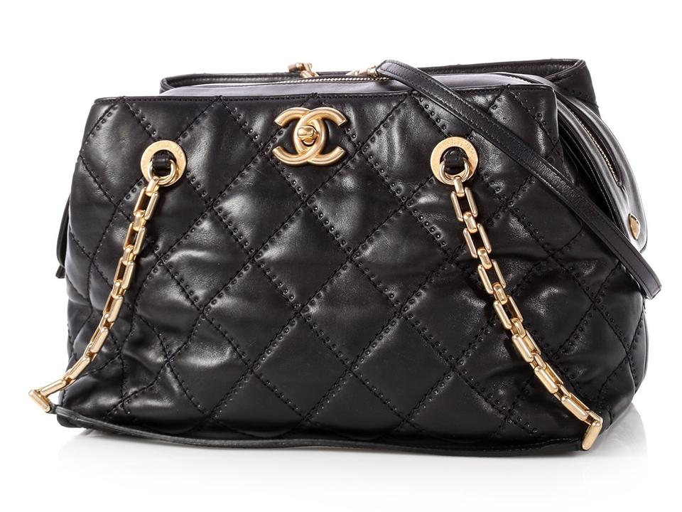 8d5a1135574d Chanel Shopping Tote Small Zip Quilted Black Calfskin Leather Tote ...