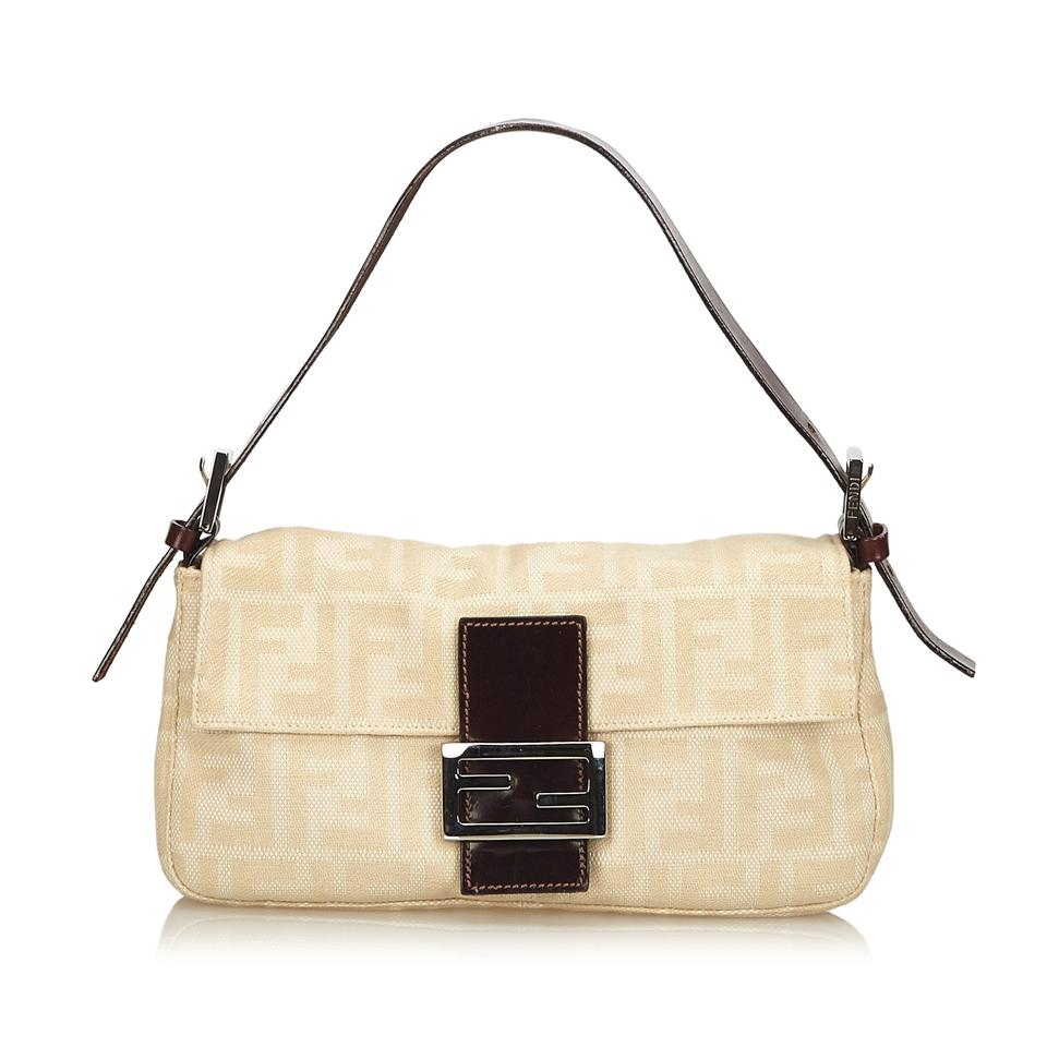 011a156bbca1 Fendi Zucca Brown Fabric X Jacquard X Leather X Others Baguette ...