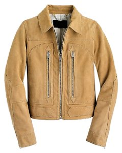 J.Crew Collection Suede Moto Tan Leather Jacket