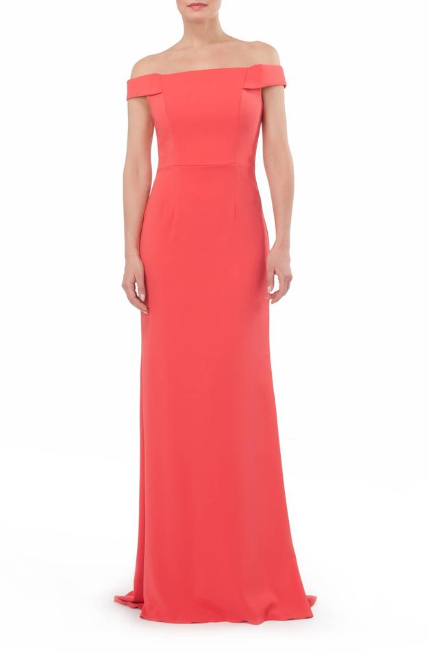 Carmen Marc Valvo Coral Infusion Off-the-shoulder Crepe Gown Long ...