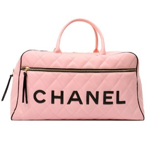 Chanel Vintage Luggage Duffle Calfskin Pink Travel Bag