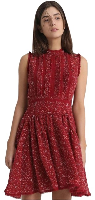 Item - Red Myra Pepper Floral Sleeveless Wd179n Sz6 Uk10 Short Casual Dress Size 6 (S)
