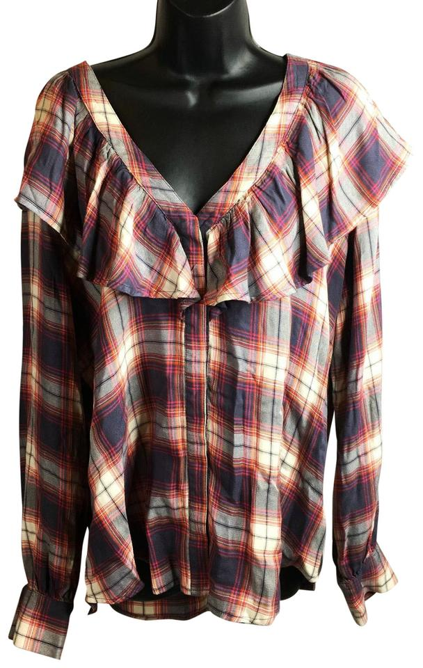 7aedaa10fe83b5 Mossimo Supply Co. Red Gray XL Women's Blouse Flannel Type Bu Button-down  Top