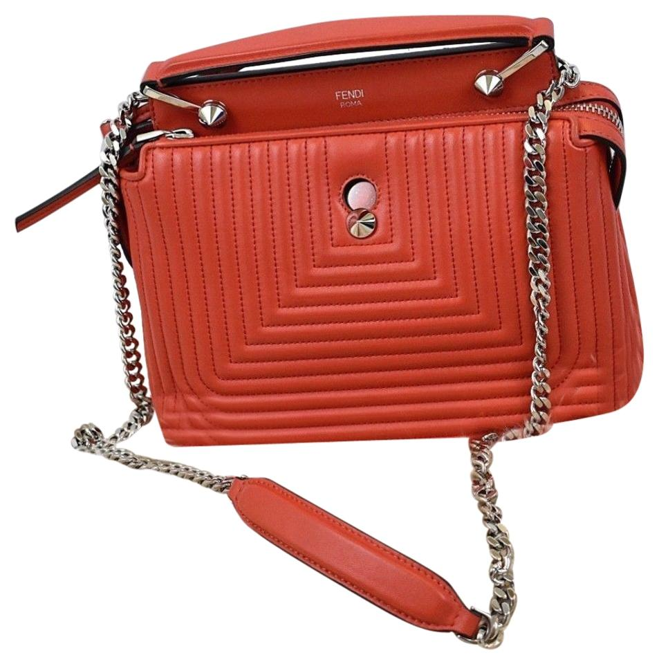 Fendi Dotcom Small Poppy Quilted Red Lambskin Leather Cross Body Bag ... a92880247641b