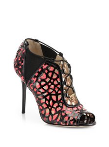 Jimmy Choo Perforated Peep Toe Patent Leather Gold Hardware Tactic Black, Pink Boots